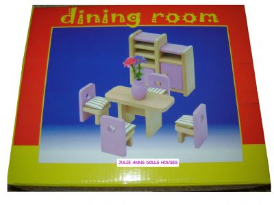 Pink dolls house dining set